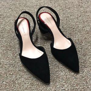 NEW Zara Woman Black Suede Sling Back Heel Size 37